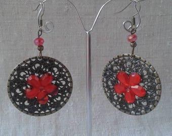 """large hoop earrings """"bronze and red flower"""""""