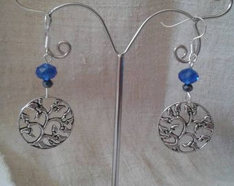 """""""faceted beads and tree"""" earrings"""