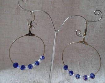 hoop earrings blue and white