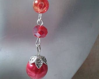 "Earrings ""trio of red beads"""