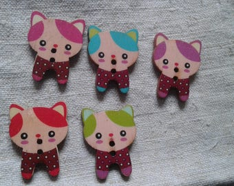 "set of 10 ""cats"" multicolored buttons, wooden"