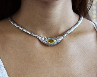 Antique Silver Collar Necklace with Yellow Crystal