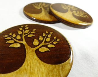 "Nature Themed Wooden Coaster - Stylized Tree Design -  Premium Laser Engraved, Light Stained 3.5"" Bar Drink Coaster - FREE CUSTOMIZATION"