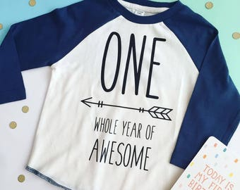 One whole year of awesome - first birthday, party, baby, toddler, cake smash, baseball top, personalised