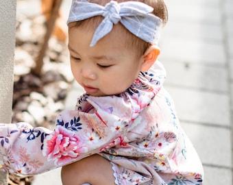 Handmade Sateen Floral Baby Peasant Top