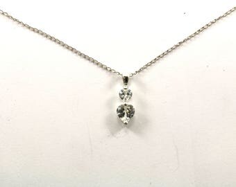 Vintage Two Hearts Crystal Necklace 925 Sterling NC 187-E