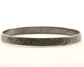 Vintage Danecraft Floral Design Bangle Bracelet 925 Sterling BR 996