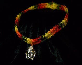 Free Shipping. Buddha Crochet Choker, Buddha Jewelry, Crochet Jewelry, Crochet Necklace, Spiritual Jewelry, Spiritual Necklace, Buddha Charm