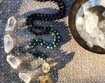 African jade & green serpentine Mala necklace