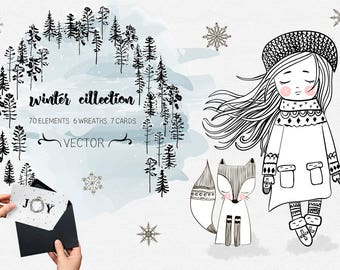Winter collection. Big holliday set. Christmas clipart, baby clip art. PNG elements, cards, cute illustrations.