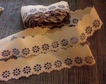 eyelet embroidery, vintage, sewing, doll, 3 meters