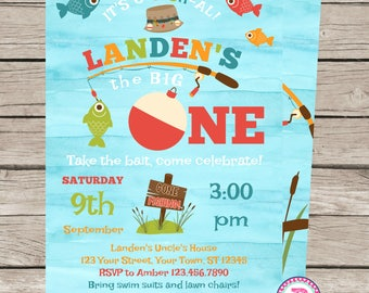 Big One Fishing Birthday Party Invitation It's O-Fish-al Camping Fisherman Watercolor 1st Birthday Two Four Front Back Printed or Digital