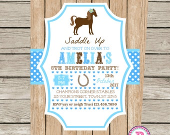 Horse Pony Party Invitation Front Back Blue Birthday Horseshoe Saddle Up Wood Digital File or Prints Horseback Riding Farm Cowgirl