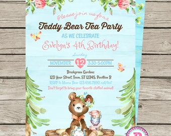 Teddy Bear Tea Birthday Party Invitation Woodland Girl Forest Animals Fall Garden Party Floral Watercolor Spring Outdoor Tea Party Roses