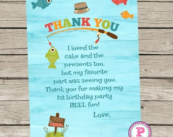 Big One Fishing Birthday Party Thank You It's O-Fish-al Camping Fisherman Watercolor 1st Birthday Two Four Front Back Reel Fun