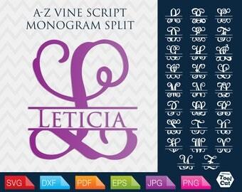 Split Monogram Letters Svg Vine Font Svg Split Vine Font Svg Files Monogram Cuttable Alphabet Cricut Vine Split Font Svg Silhouette Svg Dxf