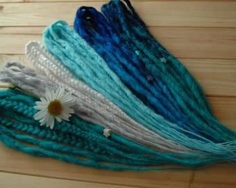 5 DE - 50 DE crochet synthetic double ended natural look dreads and braids blue emerald white gray