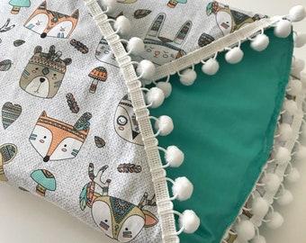 Baby play mat, tummy time, woodland animal, tribal animal, picnic rug, baby boy, round