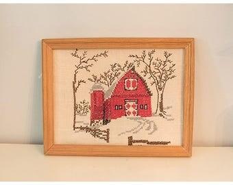 Red Barn Knitted Artwork   Farm Decor   Farm House Decor   Vintage Farm House
