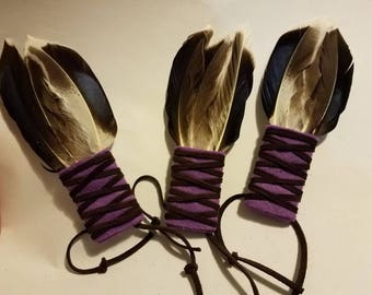 Sage Smudging Wafting Feather Wand Purple