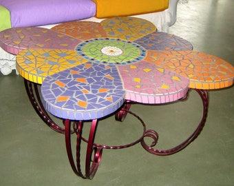 "coffee table ""flower"" mosaic 83 x 83 x 46 cm h"