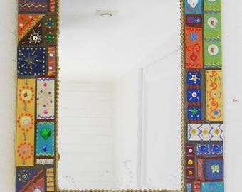 "mirror mosaic colorful art ""Mahrouk"" 53 x 36 cm"