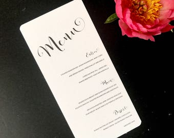 Calligraphy Black and White Wedding Menu -  Elegant Modern Wedding Menu - Monochrome Menu Card - On the Day Stationery - Wedding Day