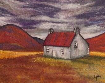 Bothy in the glen - felt painting,  original artwork