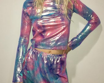 Rave Outfit Holographic Fabric shirt/rave outfit/ edc outfit/ festival/ holographic