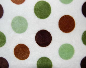 White MINKY fabric coupon spotted Green and Brown