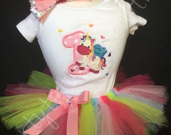 Unicorn/Alicorn Embroidered Tutu Set