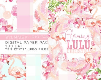 Flamingo Lulu Christmas watercolor digital paper pack - pink green tropical holiday - Whimsical Digitals
