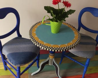 Hand Painted Bistro Table and Chairs