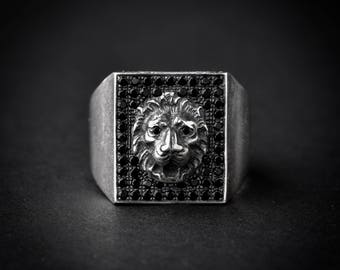 Rectangle Lion Signet Ring   lion ring   statement ring   lion head ring   925   silver signet ring   silver ring   leo ring   lion jewelry