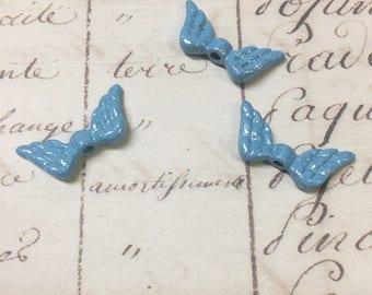 6pcs Enamel Wing bead, Blue with Glitter, double-sided angel wing,