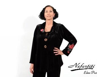 plus size clothing, jacket, plus size  jacket, plus size coat, velvet  jacket, black  jacket, black velvet  jacket, black velvet, black coat