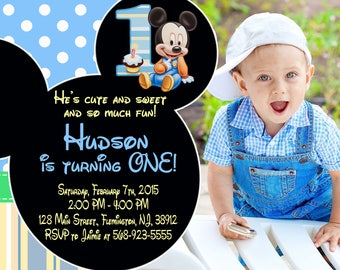 Baby Mickey Mouse First Birthday Invitation Baby Mickey Mouse Invitation Birthday Party