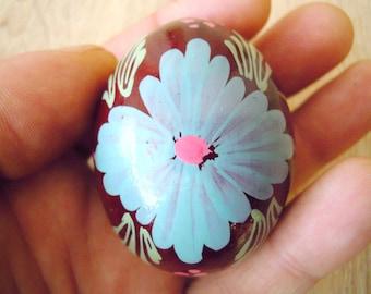 Wooden Easter egg. Hand painted egg. Vintage egg. Made in Ukraine. Ukrainian egg. Painted wooden egg. Decorated easter egg. Blue. Hutsul egg
