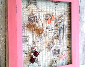 Chicken wire frames, jewelry holder frame, gift for her, chalk painted frame, chicken wire frames, chicken wire decor, wire picture frame