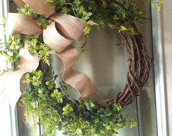 Everyday wreath, natural wreath, natural greenery wreath, all season, farmhouse wreath, door hanger, natural wreath, farmhouse decor