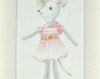 Small watercolor painting mouse
