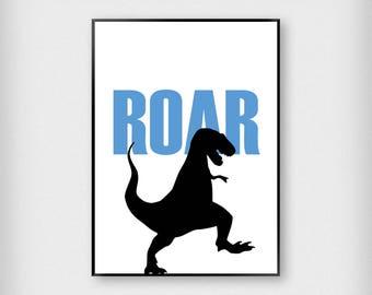 Dinosaur Roar Print | Kids | Blue - White - Black | Typography - Children - Poster