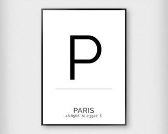 Paris | City | Black and White | Coordinates - Fashion - Poster