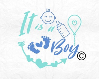 it's a boy newborn SVG Clipart Cut Files Silhouette Cameo Svg for Cricut and Vinyl File cutting Digital cuts file DXF Png Pdf Eps