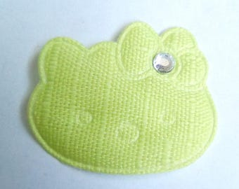 Green 26x30mm fabric cat applique