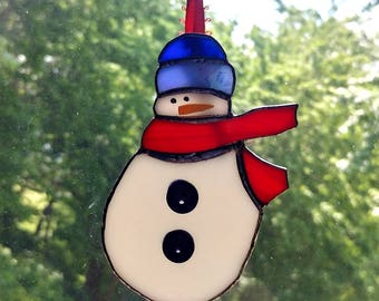 Cute Stained Glass Snowman Suncatcher with Scarf & Buttons