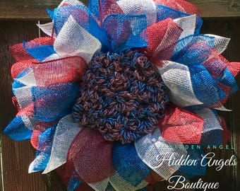 Patriotic Wreath, 4th of July Wreath, Red White and Blue Wreath, Wreath for Front Door, Housewarming Gift, Summer Wreath