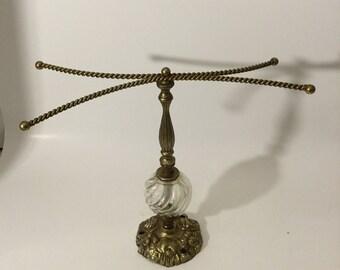 Vintage  brass And Glass  Towel Holder /Jewelry  storage/Necklasce /Bracelets storage