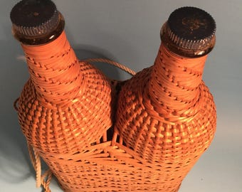 Vintage Double Wicker Wine Bottles