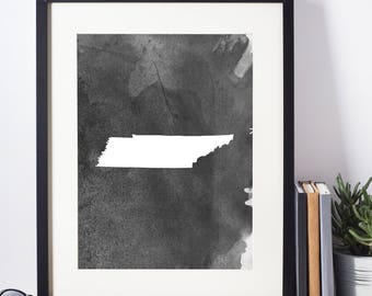 Home Decor, Wall Art, Watercolor, Tennessee Black and White Art Print, Digital Download, Tennessee Wall Decor, Modern Art